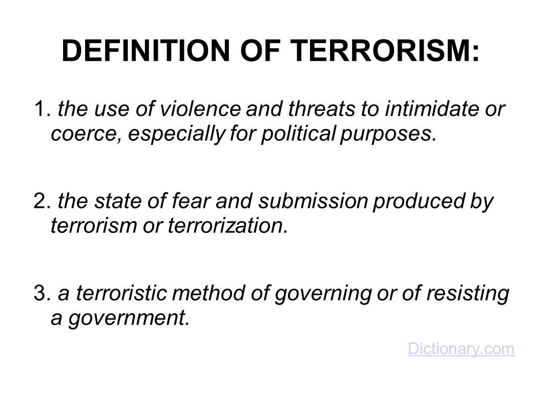 DEFINITION OF TERRORISM: 1.