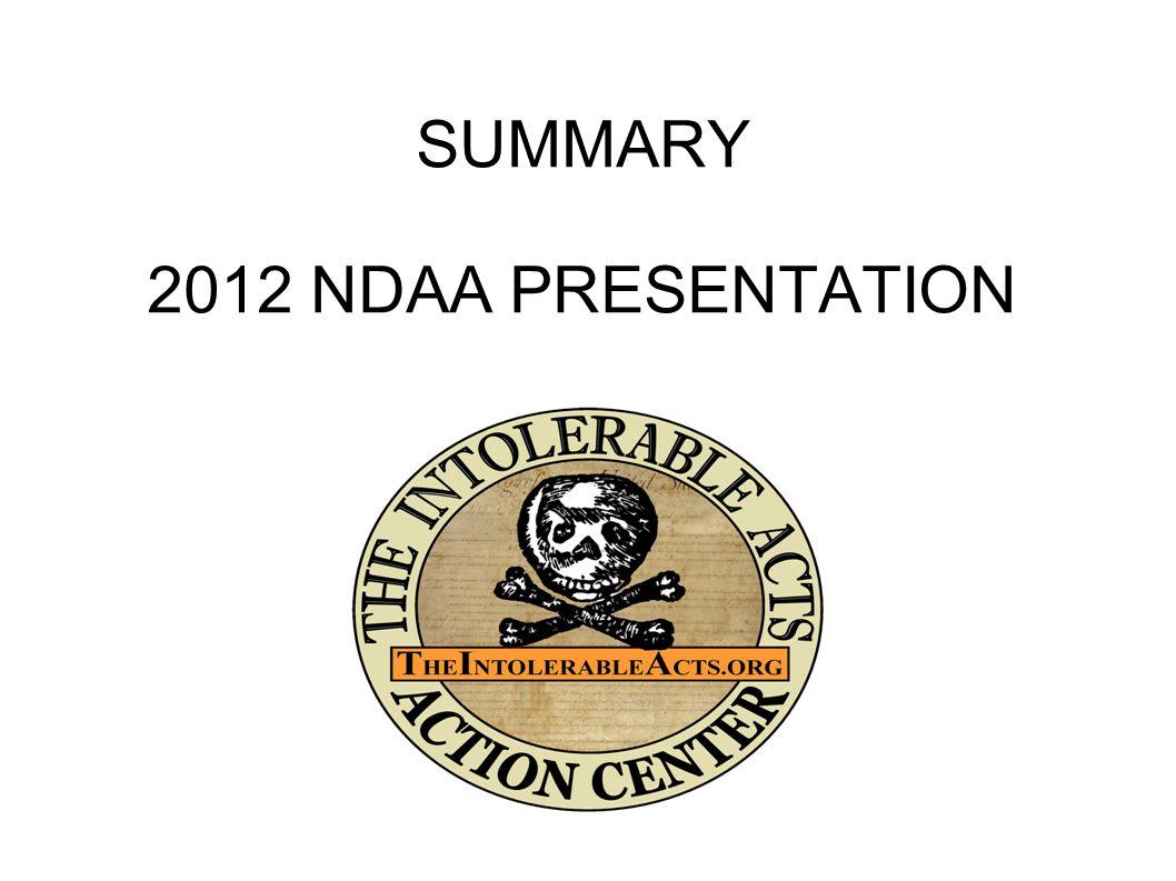 SUMMARY 2012 NDAA PRESENTATION