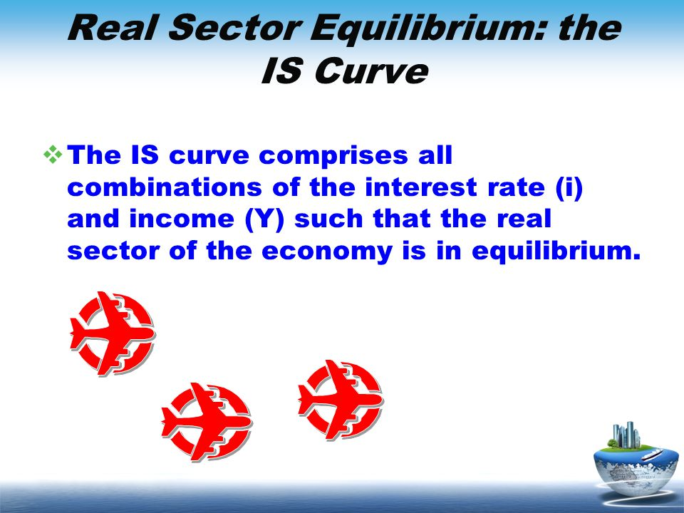 Real Sector Equilibrium: the IS Curve The IS curve comprises all combinations of the interest rate (i) and income (Y) such that the real sector of the