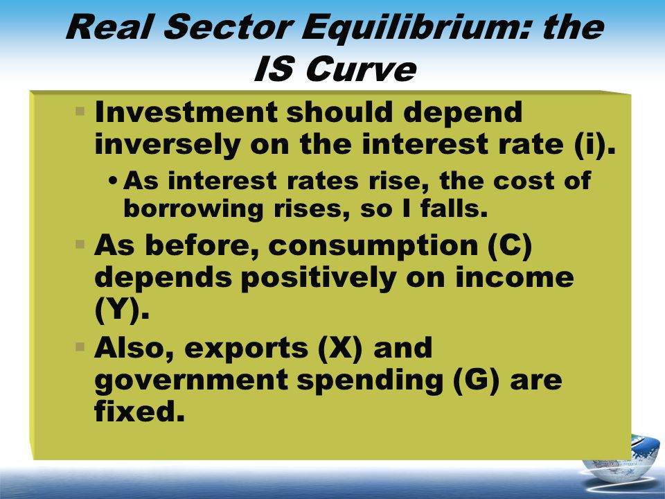 Real Sector Equilibrium: the IS Curve Investment should depend inversely on the interest rate (i). As interest rates rise, the cost of borrowing rises