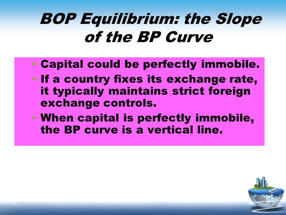 BOP Equilibrium: the Slope of the BP Curve Capital could be perfectly immobile. If a country fixes its exchange rate, it typically maintains strict fo