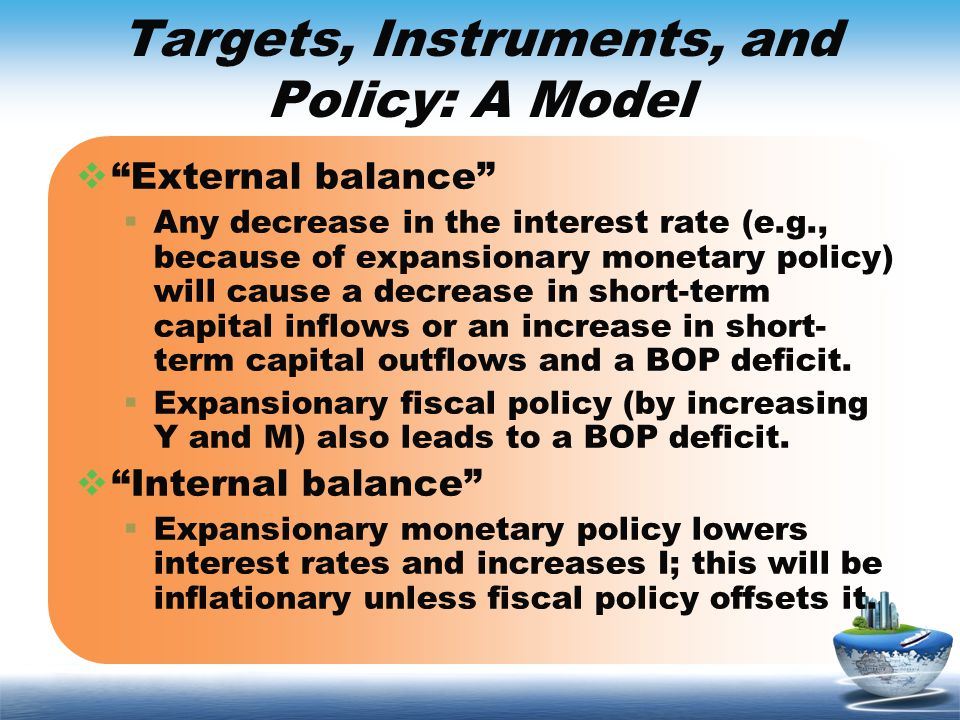 Targets, Instruments, and Policy: A Model External balance Any decrease in the interest rate (e.g., because of expansionary monetary policy) will caus