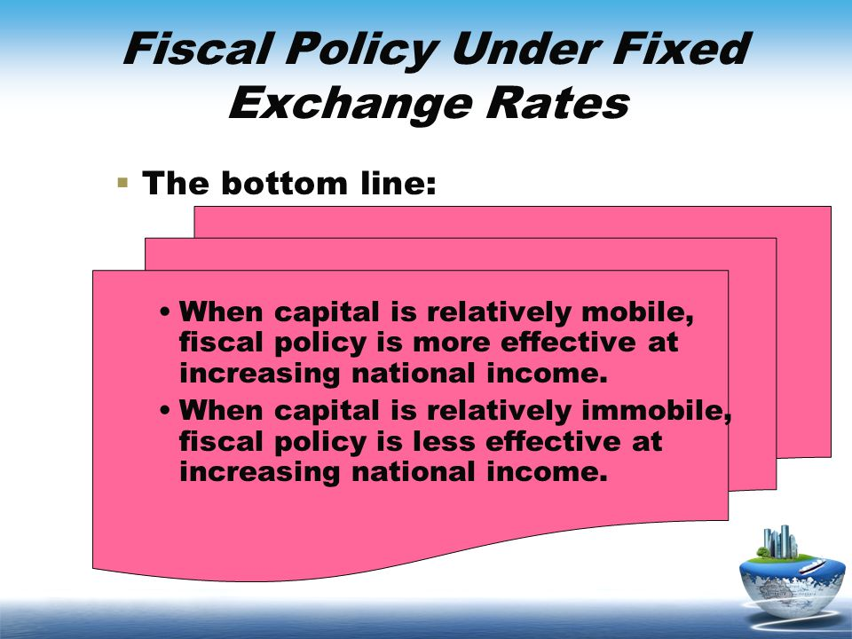 Fiscal Policy Under Fixed Exchange Rates The bottom line: When capital is relatively mobile, fiscal policy is more effective at increasing national in