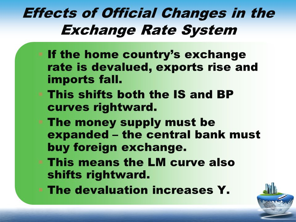 Effects of Official Changes in the Exchange Rate System If the home countrys exchange rate is devalued, exports rise and imports fall. This shifts bot
