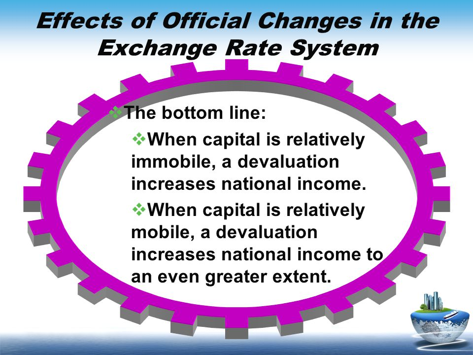 Effects of Official Changes in the Exchange Rate System The bottom line: When capital is relatively immobile, a devaluation increases national income.
