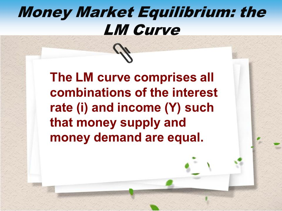 Money Market Equilibrium: the LM Curve The LM curve comprises all combinations of the interest rate (i) and income (Y) such that money supply and mone