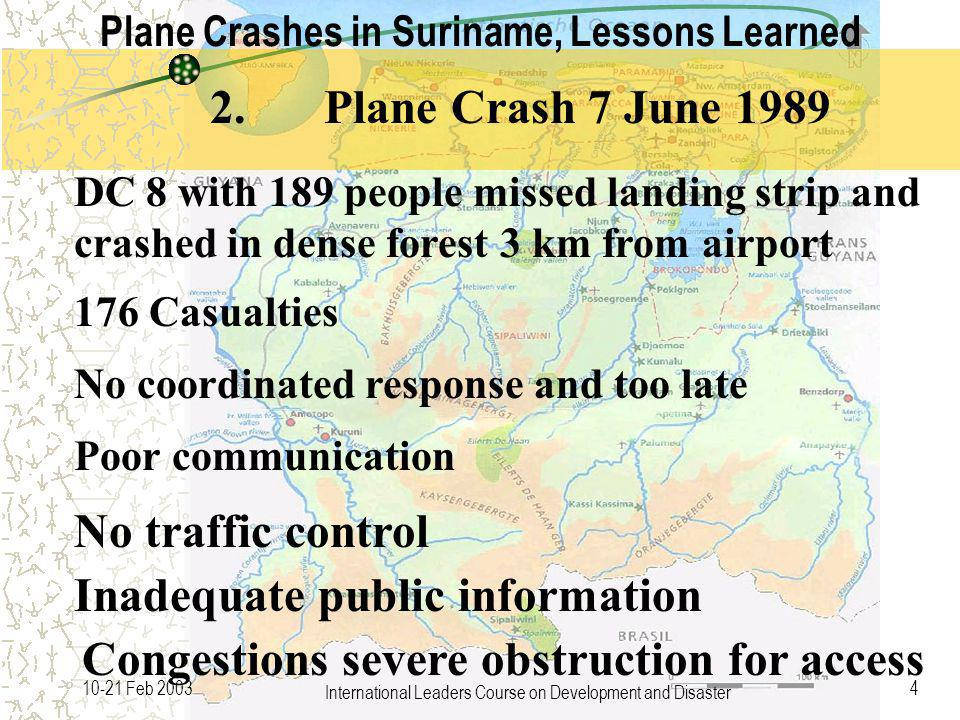 International Leaders Course on Development and Disaster 410-21 Feb 2003 DC 8 with 189 people missed landing strip and crashed in dense forest 3 km from airport 176 Casualties No coordinated response and too late No traffic control 2.Plane Crash 7 June 1989 Poor communication Plane Crashes in Suriname, Lessons Learned Inadequate public information Congestions severe obstruction for access