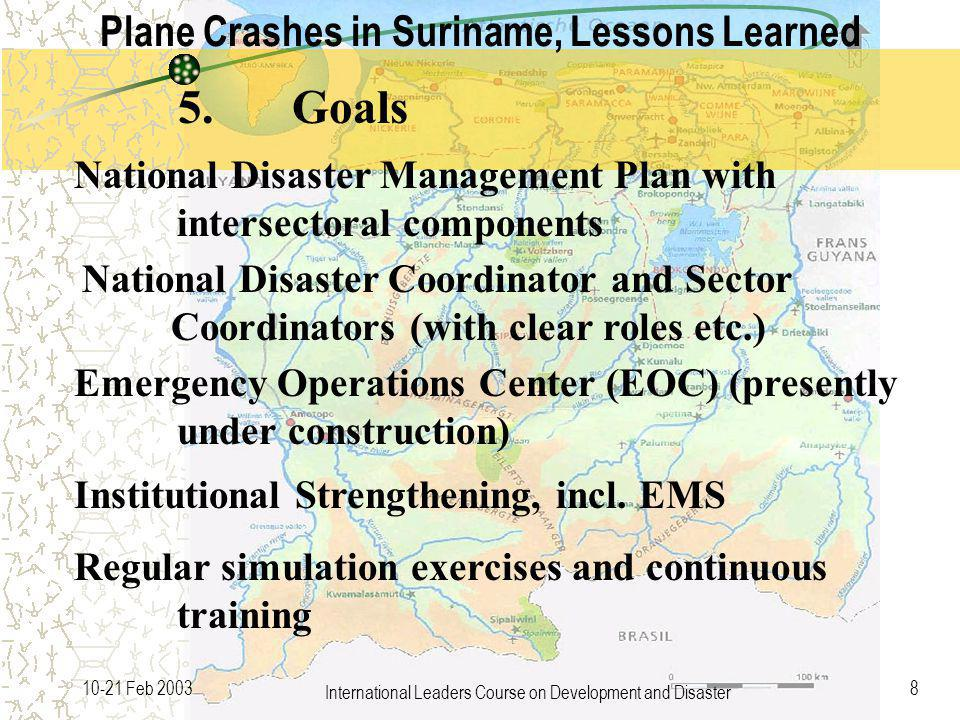 International Leaders Course on Development and Disaster 810-21 Feb 2003 National Disaster Management Plan with intersectoral components National Disaster Coordinator and Sector Coordinators (with clear roles etc.) Emergency Operations Center (EOC) (presently under construction) 5.Goals Plane Crashes in Suriname, Lessons Learned Institutional Strengthening, incl.