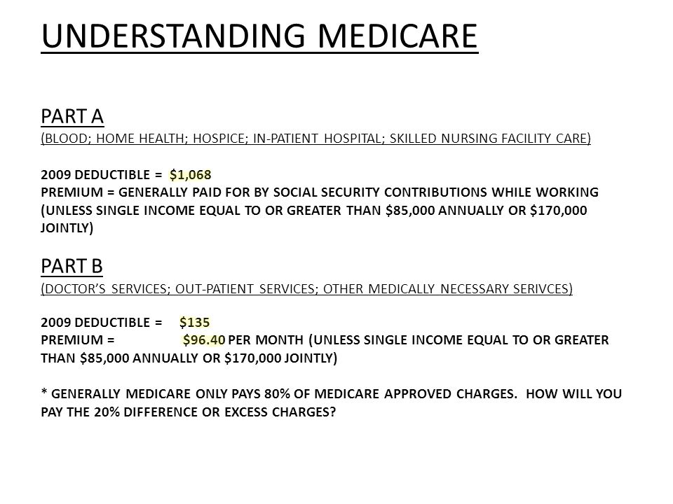 UNDERSTANDING MEDICARE PART A (BLOOD; HOME HEALTH; HOSPICE; IN-PATIENT HOSPITAL; SKILLED NURSING FACILITY CARE) 2009 DEDUCTIBLE = $1,068 PREMIUM = GENERALLY PAID FOR BY SOCIAL SECURITY CONTRIBUTIONS WHILE WORKING (UNLESS SINGLE INCOME EQUAL TO OR GREATER THAN $85,000 ANNUALLY OR $170,000 JOINTLY) PART B (DOCTORS SERVICES; OUT-PATIENT SERVICES; OTHER MEDICALLY NECESSARY SERIVCES) 2009 DEDUCTIBLE = $135 PREMIUM = $96.40 PER MONTH (UNLESS SINGLE INCOME EQUAL TO OR GREATER THAN $85,000 ANNUALLY OR $170,000 JOINTLY) * GENERALLY MEDICARE ONLY PAYS 80% OF MEDICARE APPROVED CHARGES.