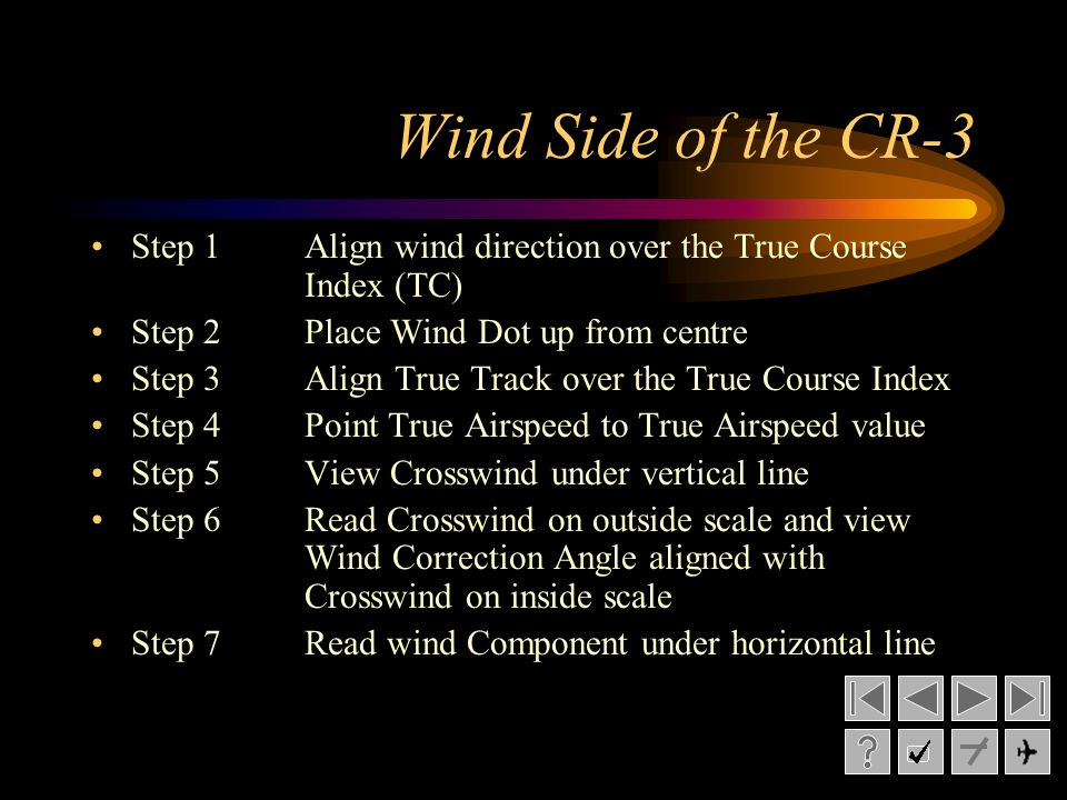 Wind Side of the CR-3 Step 1Align wind direction over the True Course Index (TC) Step 2Place Wind Dot up from centre Step 3Align True Track over the T