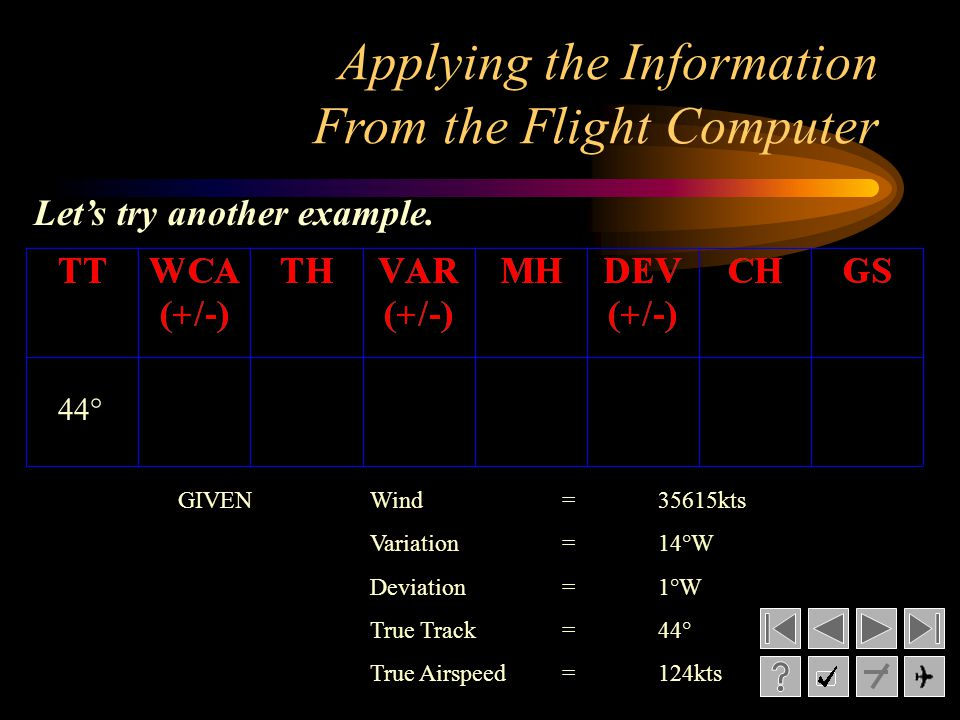 GIVENWind= 35615kts Variation= 14°W Deviation= 1°W True Track= 44° True Airspeed=124kts Applying the Information From the Flight Computer Lets try ano