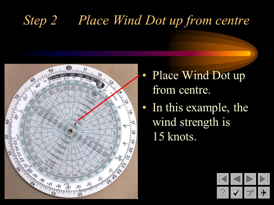 Step 2 Place Wind Dot up from centre Place Wind Dot up from centre. In this example, the wind strength is 15 knots.