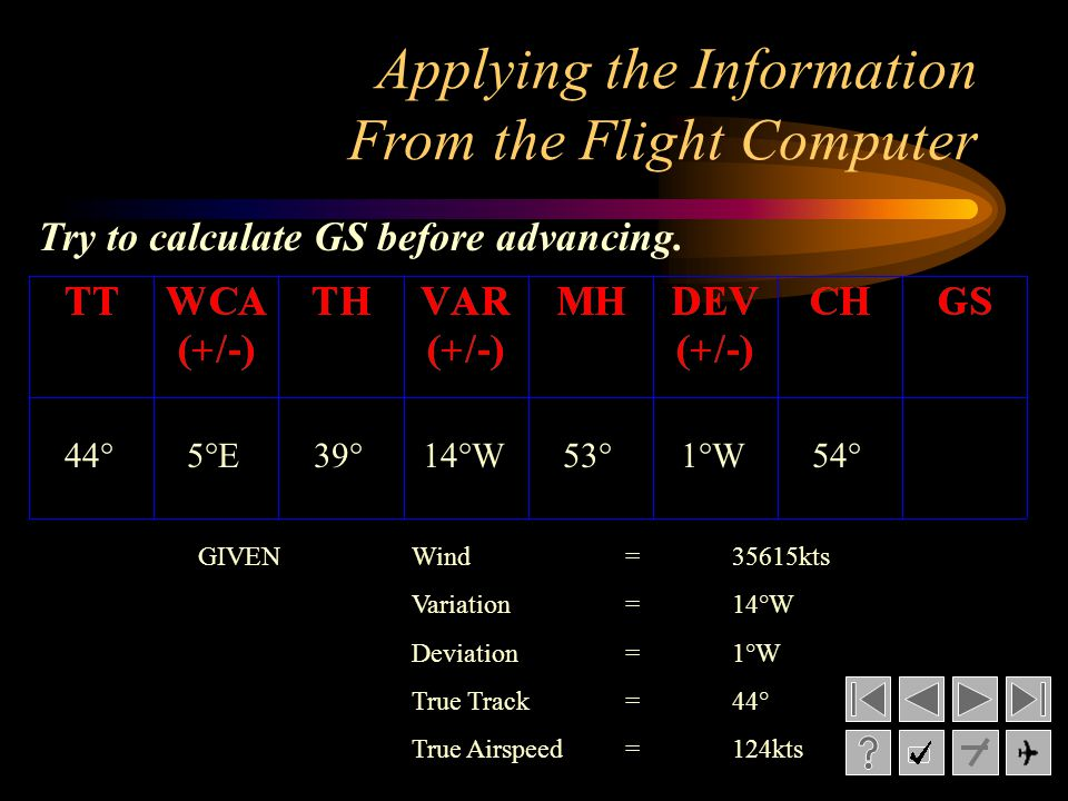 Applying the Information From the Flight Computer GIVENWind= 35615kts Variation= 14°W Deviation= 1°W True Track= 44° True Airspeed=124kts Try to calcu