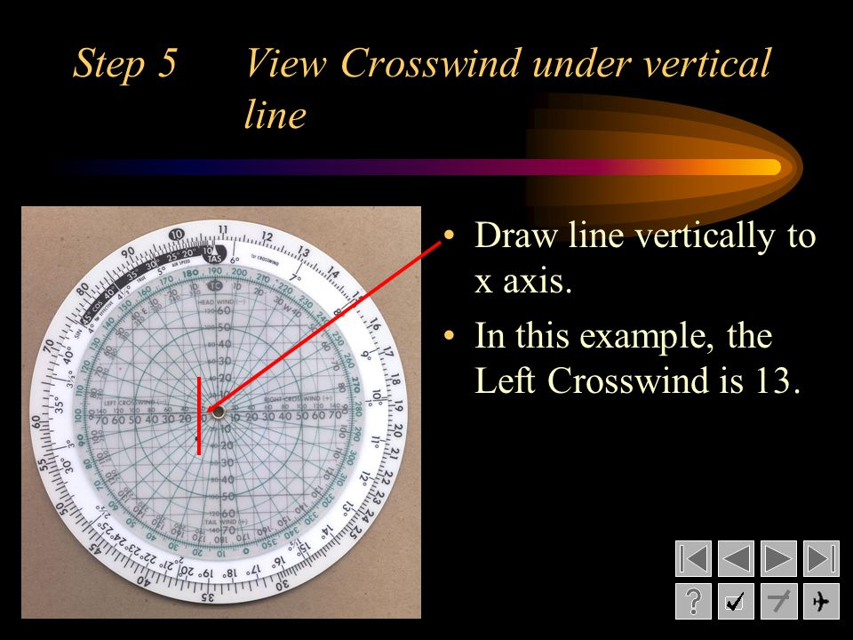 Step 5 View Crosswind under vertical line Draw line vertically to x axis. In this example, the Left Crosswind is 13.