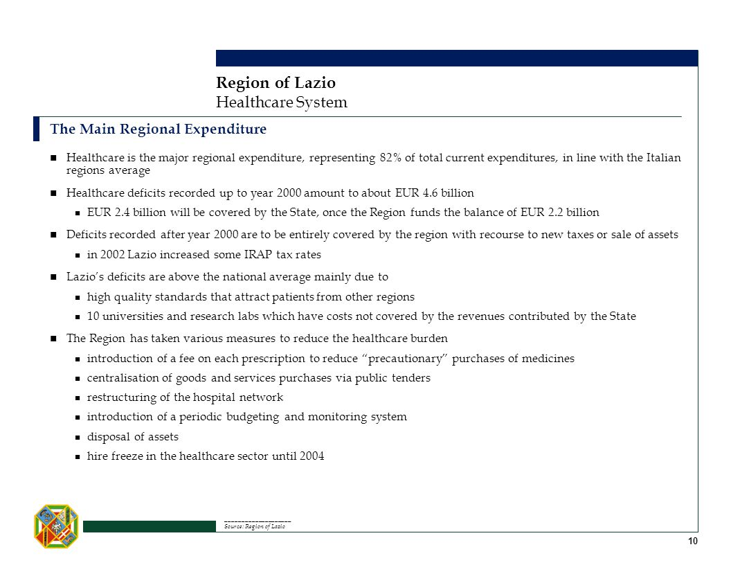 Healthcare System Region of Lazio The Main Regional Expenditure ____________________ Source: Region of Lazio 10 Healthcare is the major regional expen