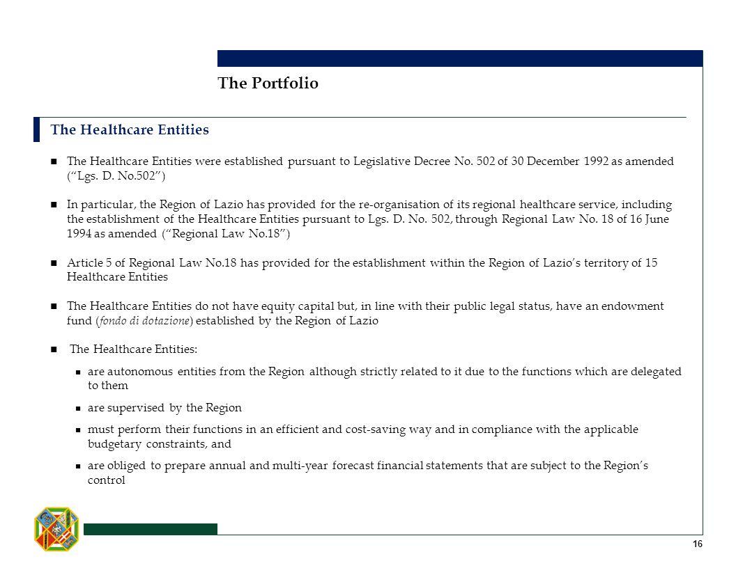 The Portfolio The Healthcare Entities 16 The Healthcare Entities were established pursuant to Legislative Decree No. 502 of 30 December 1992 as amende