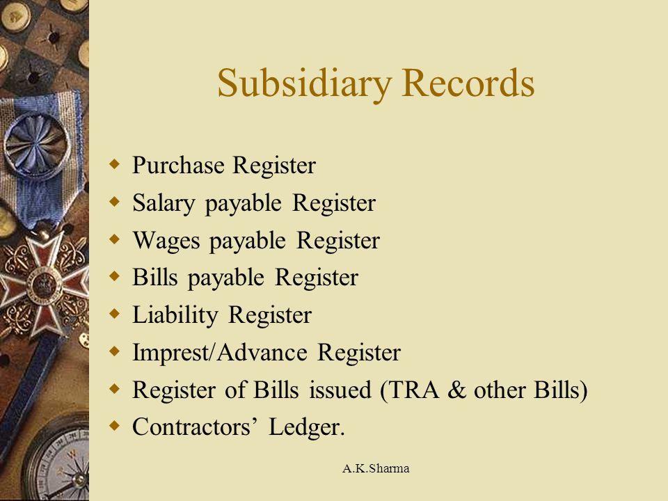 A.K.Sharma Subsidiary Records Purchase Register Salary payable Register Wages payable Register Bills payable Register Liability Register Imprest/Advan