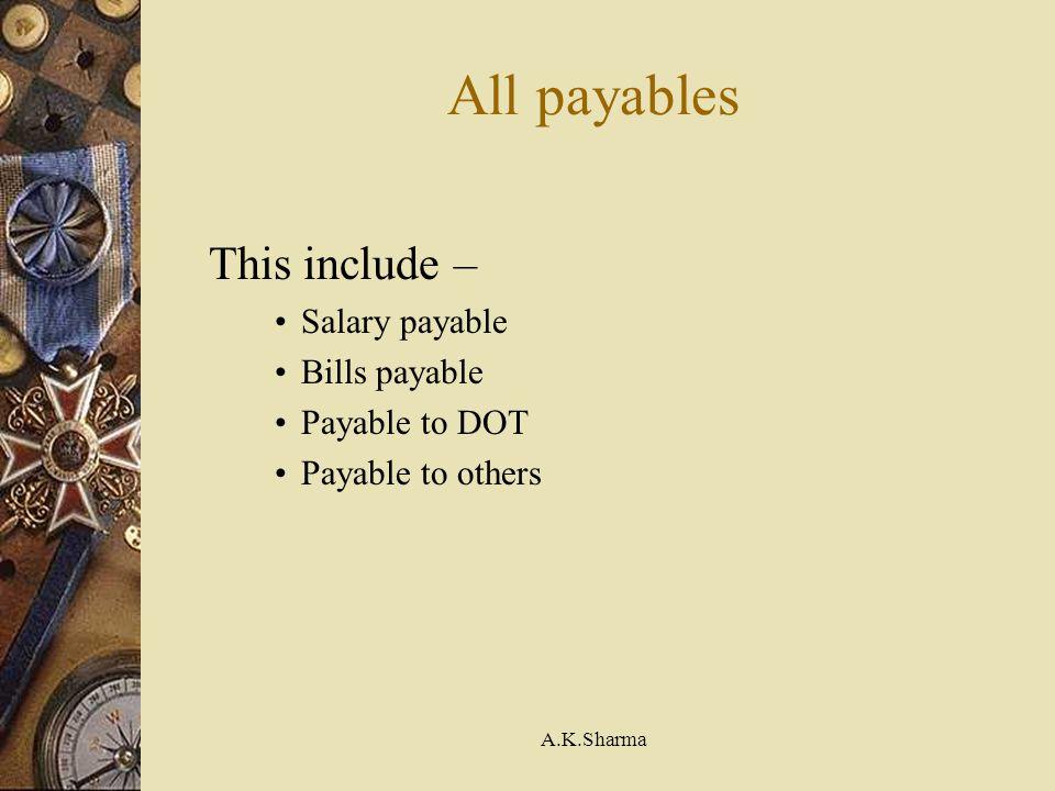 A.K.Sharma All payables This include – Salary payable Bills payable Payable to DOT Payable to others