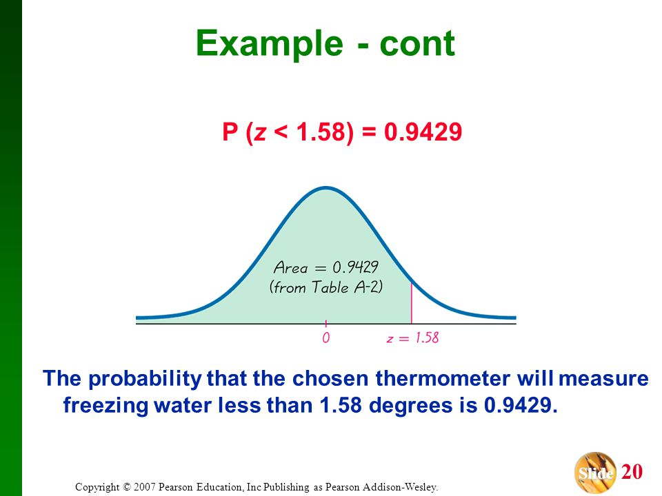 Slide Slide 20 Copyright © 2007 Pearson Education, Inc Publishing as Pearson Addison-Wesley. The probability that the chosen thermometer will measure