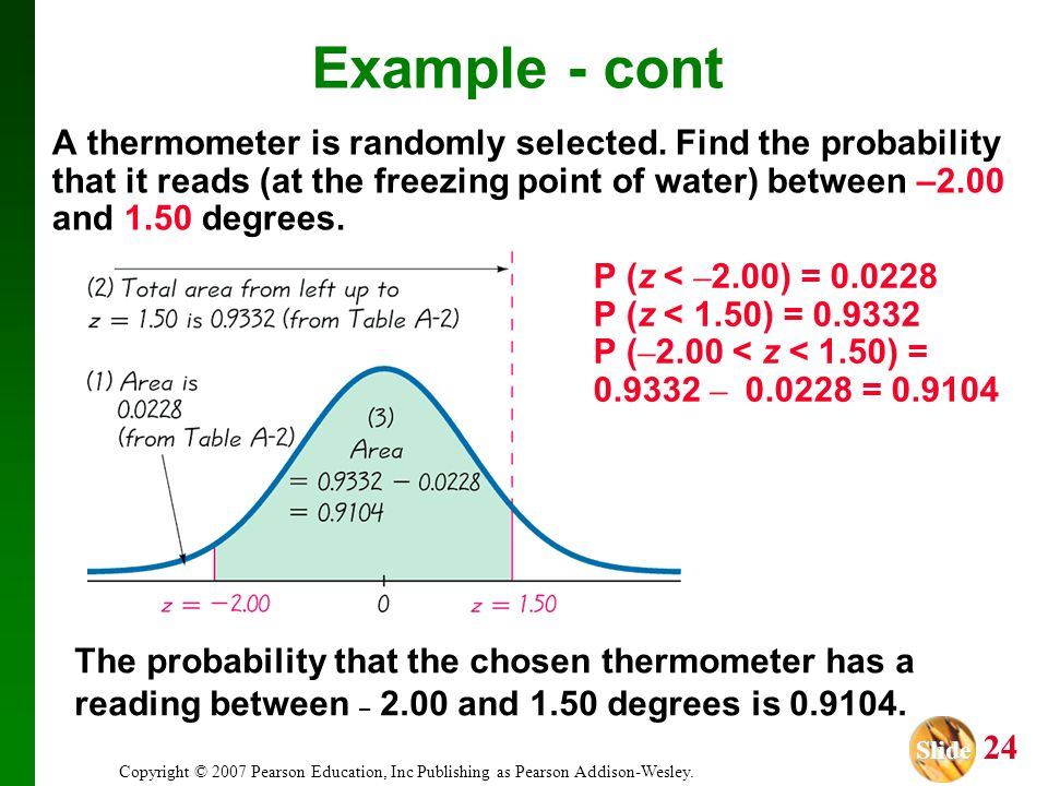 Slide Slide 24 Copyright © 2007 Pearson Education, Inc Publishing as Pearson Addison-Wesley. A thermometer is randomly selected. Find the probability