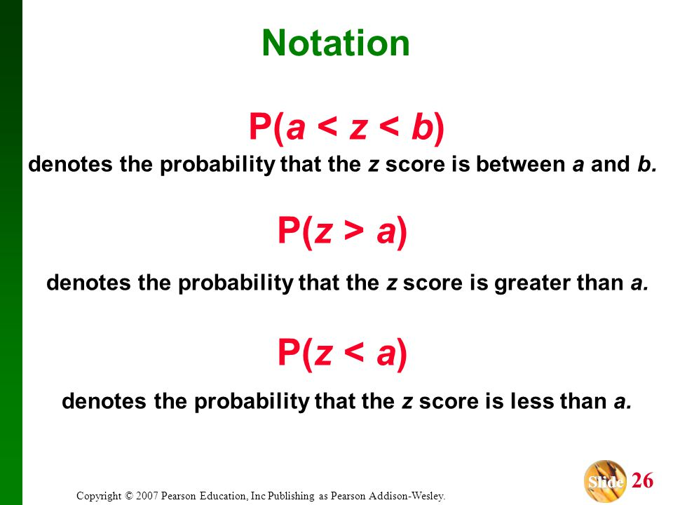 Slide Slide 26 Copyright © 2007 Pearson Education, Inc Publishing as Pearson Addison-Wesley. P(a < z < b) denotes the probability that the z score is