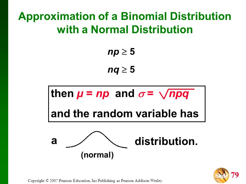 Slide Slide 79 Copyright © 2007 Pearson Education, Inc Publishing as Pearson Addison-Wesley. Approximation of a Binomial Distribution with a Normal Di