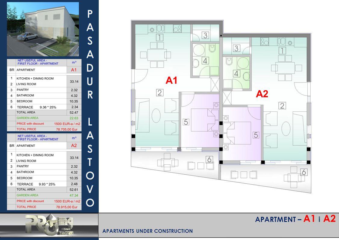 APARTMENT – A1 i A2 APARTMENTS UNDER CONSTRUCTION A1 A2