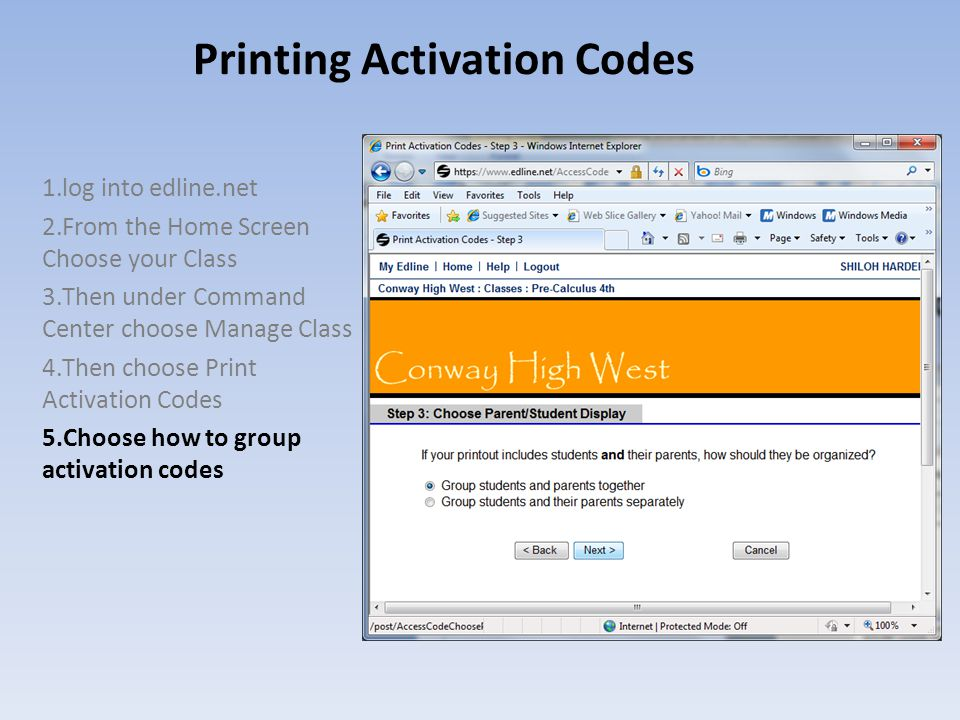 Printing Activation Codes 1.log into edline.net 2.From the Home Screen Choose your Class 3.Then under Command Center choose Manage Class 4.Then choose