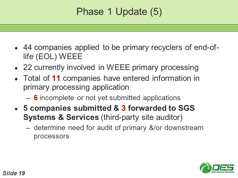Phase 1 Update (5) 44 companies applied to be primary recyclers of end-of- life (EOL) WEEE 22 currently involved in WEEE primary processing Total of 1