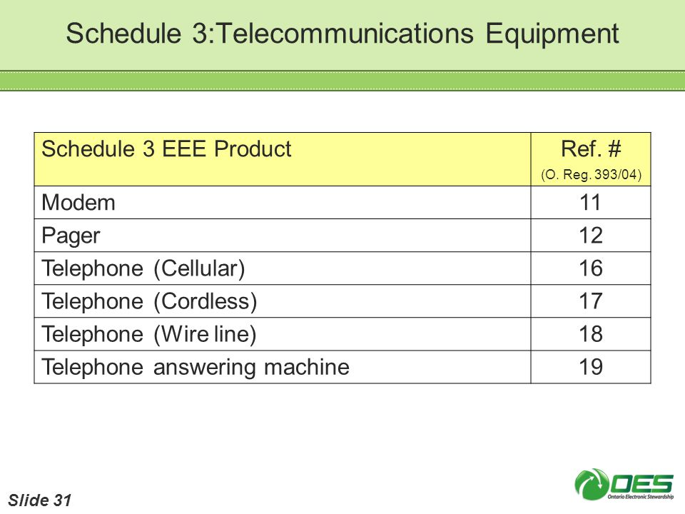 Schedule 3:Telecommunications Equipment Schedule 3 EEE ProductRef. # (O. Reg. 393/04) Modem11 Pager12 Telephone (Cellular)16 Telephone (Cordless)17 Te