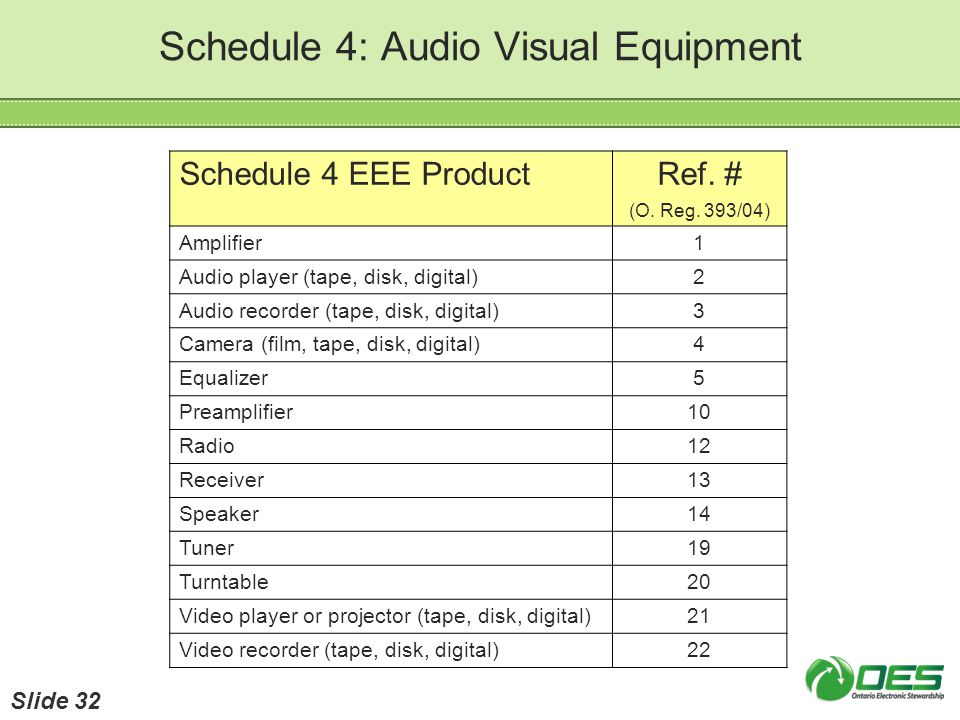 Schedule 4: Audio Visual Equipment Schedule 4 EEE ProductRef. # (O. Reg. 393/04) Amplifier1 Audio player (tape, disk, digital)2 Audio recorder (tape,