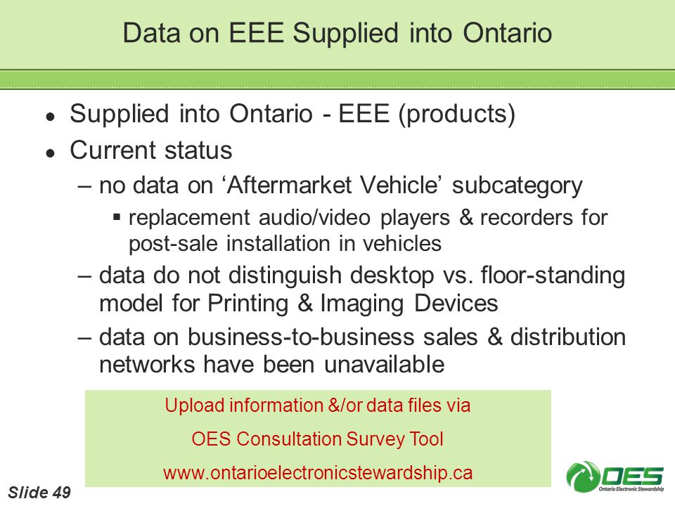 Data on EEE Supplied into Ontario Supplied into Ontario - EEE (products) Current status –no data on Aftermarket Vehicle subcategory replacement audio/