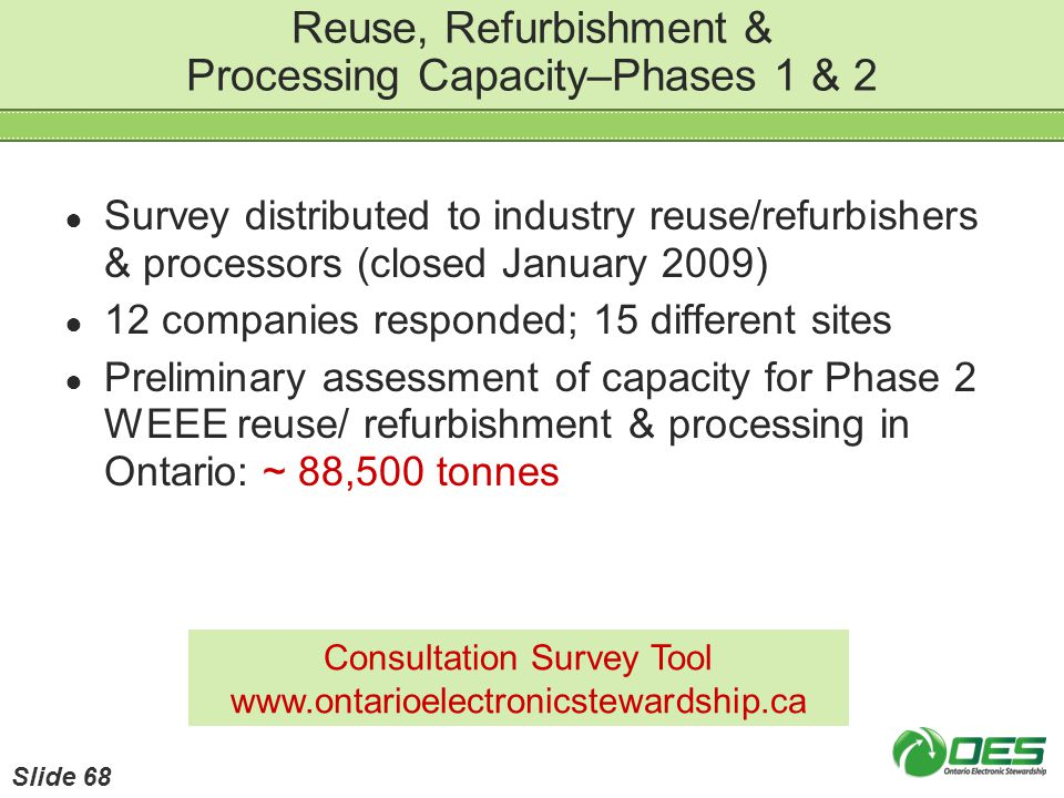 Reuse, Refurbishment & Processing Capacity–Phases 1 & 2 Survey distributed to industry reuse/refurbishers & processors (closed January 2009) 12 compan