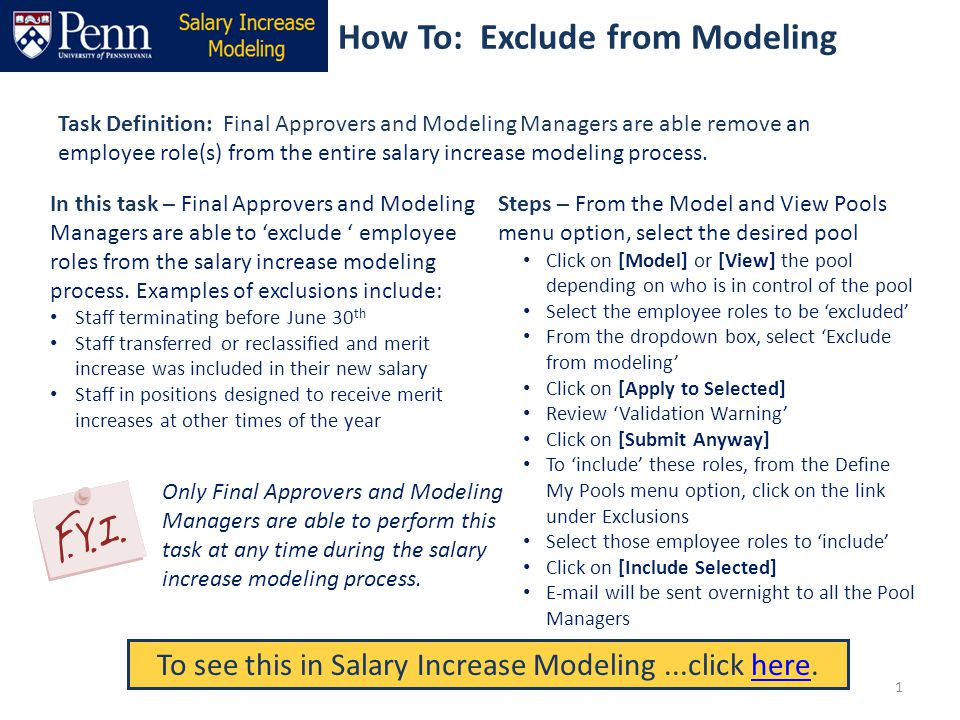 How To: Exclude from Modeling Task Definition: Final Approvers and Modeling Managers are able remove an employee role(s) from the entire salary increa