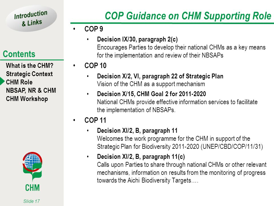 Introduction & Links What is the CHM? Strategic Context CHM Role NBSAP, NR & CHM CHM Workshop Contents Slide 17 COP Guidance on CHM Supporting Role CO