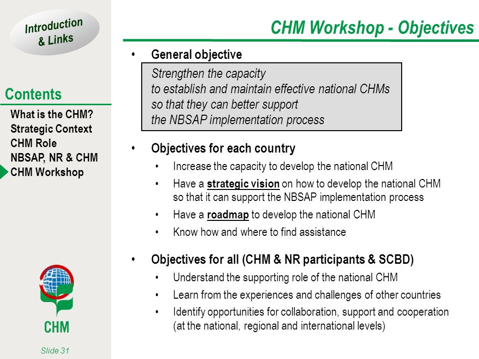 Introduction & Links What is the CHM? Strategic Context CHM Role NBSAP, NR & CHM CHM Workshop Contents Slide 31 CHM Workshop - Objectives General obje