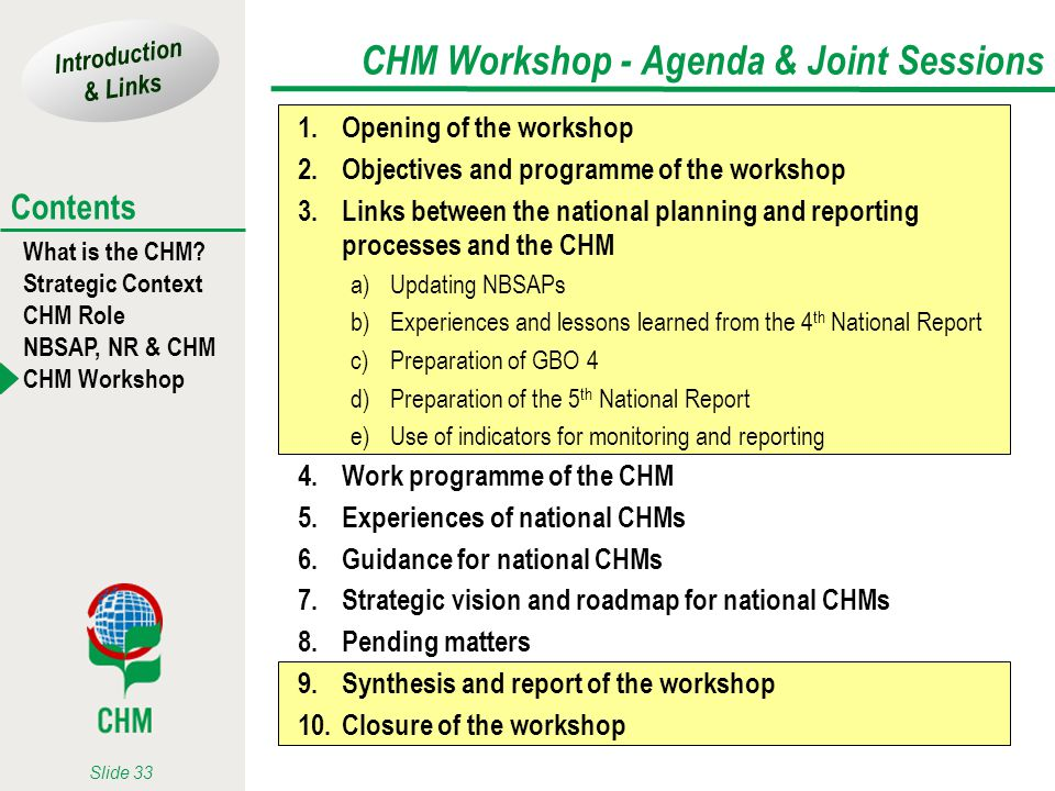 Introduction & Links What is the CHM? Strategic Context CHM Role NBSAP, NR & CHM CHM Workshop Contents Slide 33 CHM Workshop - Agenda & Joint Sessions