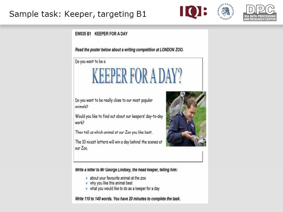 Sample task: Keeper, targeting B1