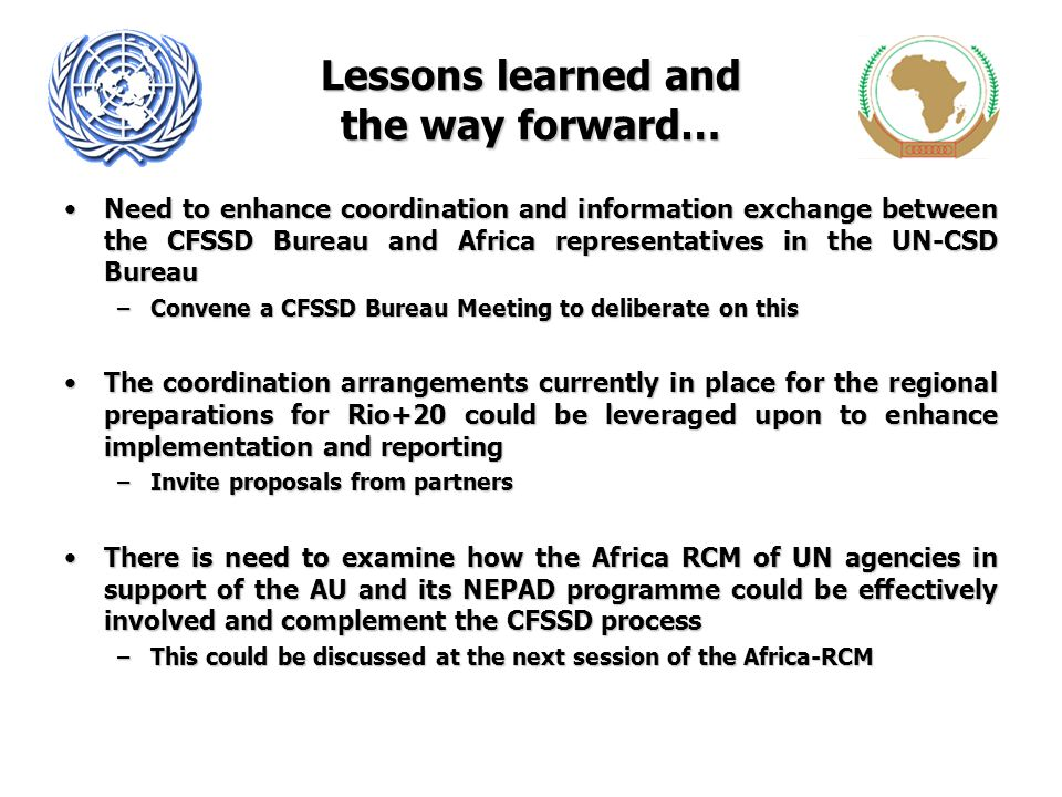 Lessons learned and the way forward… Need to enhance coordination and information exchange between the CFSSD Bureau and Africa representatives in the