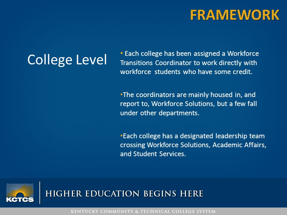 College Level Each college has been assigned a Workforce Transitions Coordinator to work directly with workforce students who have some credit. The co