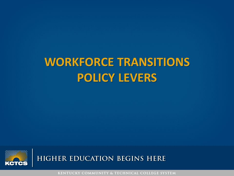 WORKFORCE TRANSITIONS POLICY LEVERS