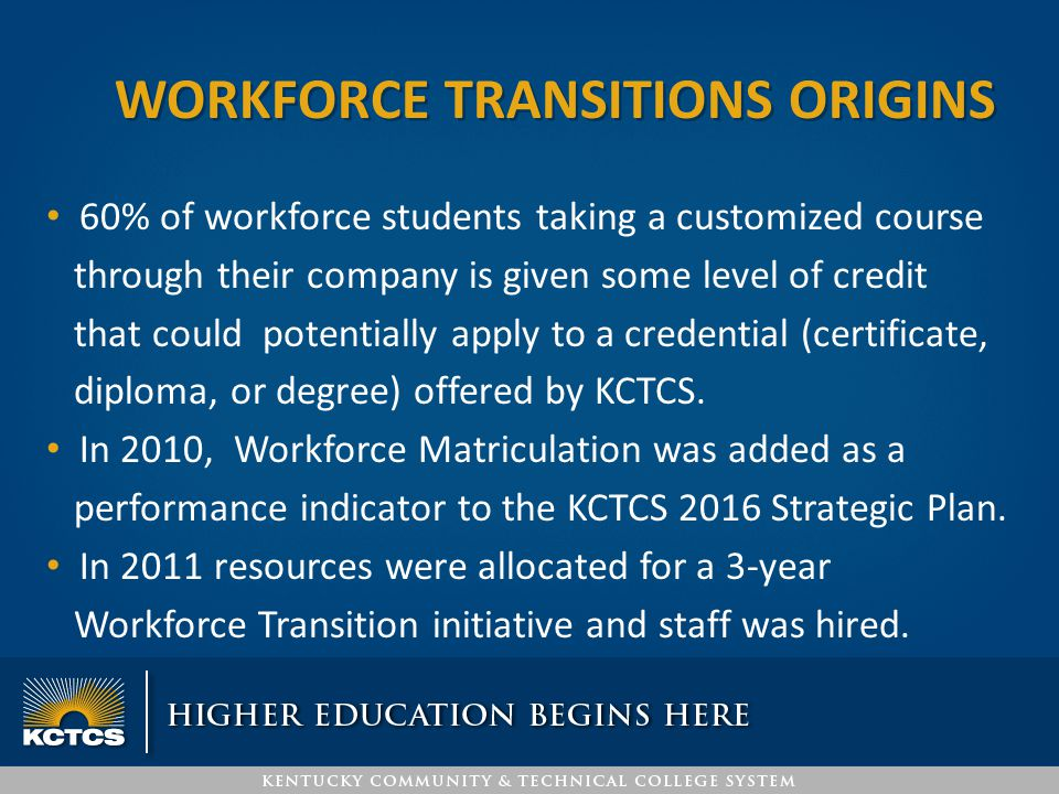 60% of workforce students taking a customized course through their company is given some level of credit that could potentially apply to a credential (certificate, diploma, or degree) offered by KCTCS.