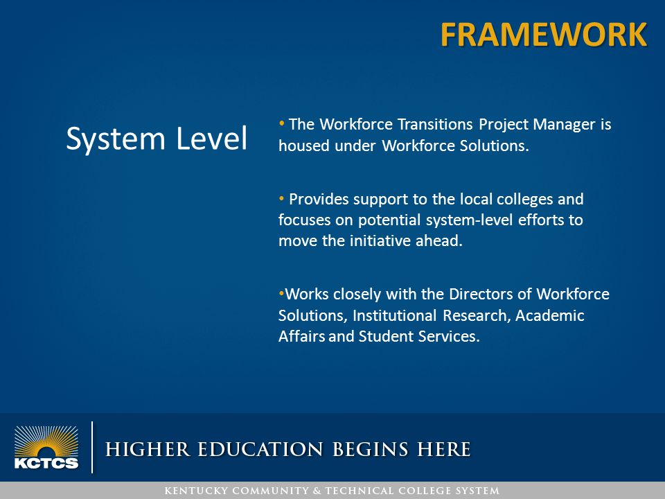 System Level The Workforce Transitions Project Manager is housed under Workforce Solutions. Provides support to the local colleges and focuses on pote