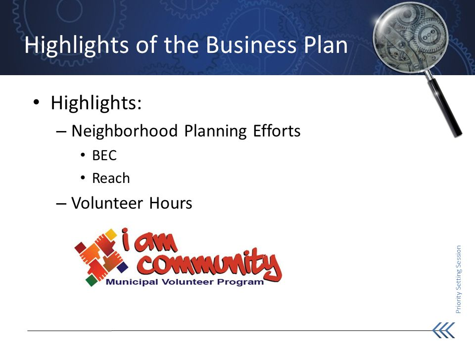 Priority Setting Session Highlights of the Business Plan Highlights: – Neighborhood Planning Efforts BEC Reach – Volunteer Hours