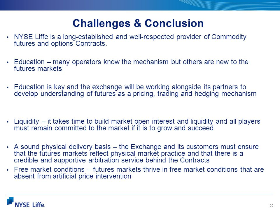 20 Challenges & Conclusion NYSE Liffe is a long-established and well-respected provider of Commodity futures and options Contracts. Education – many o