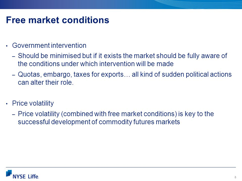 6 Free market conditions Government intervention – Should be minimised but if it exists the market should be fully aware of the conditions under which