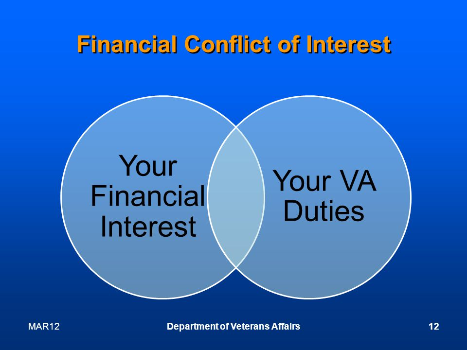 Financial Conflict of Interest Your Financial Interest Your VA Duties MAR12Department of Veterans Affairs12