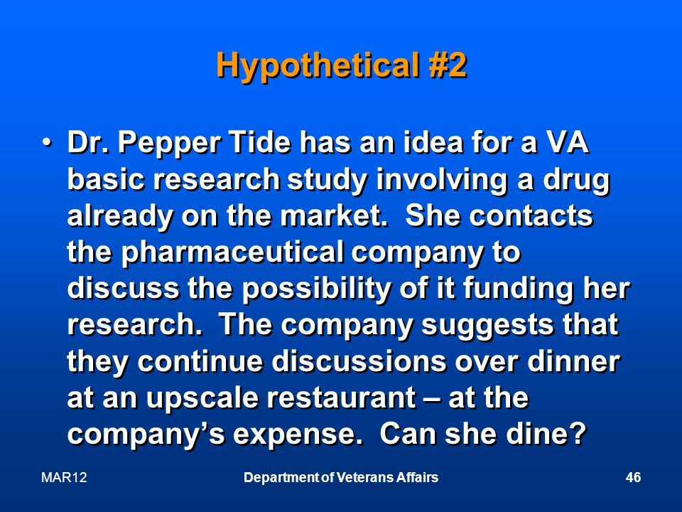 MAR12Department of Veterans Affairs46 Hypothetical #2 Dr.