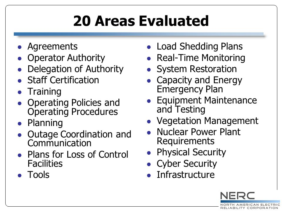20 Areas Evaluated Agreements Operator Authority Delegation of Authority Staff Certification Training Operating Policies and Operating Procedures Planning Outage Coordination and Communication Plans for Loss of Control Facilities Tools Load Shedding Plans Real-Time Monitoring System Restoration Capacity and Energy Emergency Plan Equipment Maintenance and Testing Vegetation Management Nuclear Power Plant Requirements Physical Security Cyber Security Infrastructure