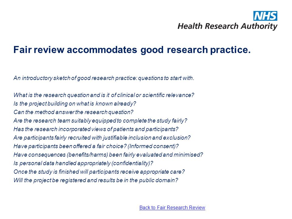 Fair review accommodates good research practice. An introductory sketch of good research practice: questions to start with. What is the research quest